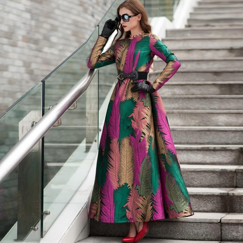 Grande taille 2019 bonne qualité printemps femmes Boho manches longues robe de mode Floral Jacquard nouvelle automne hiver longue robe Maxi