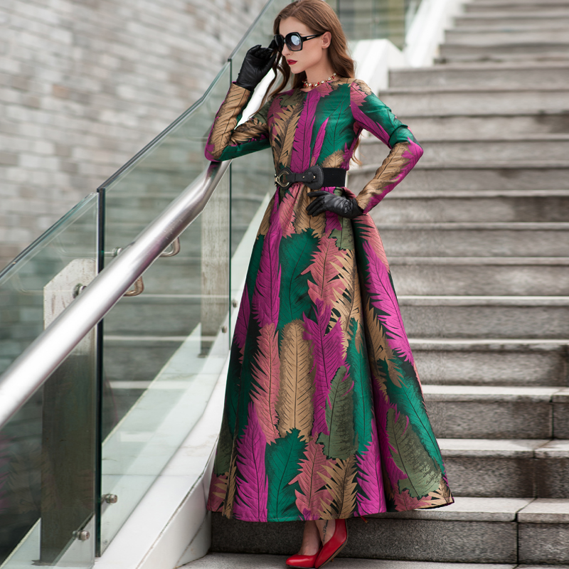 Plus Size 2019 Good Quality Spring Women Boho Long Sleeves Fashion Dress  Floral Jacquard New Autumn Winter Long Maxi  Dress