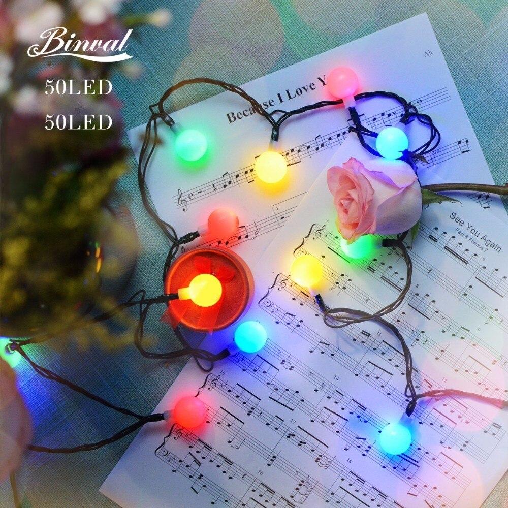 Binval Solar 50 LEDs Ball Christmas Wedding Decoration Fairy Lights Garden Decor Wedding Led Lights Led Table Decoration Mariage