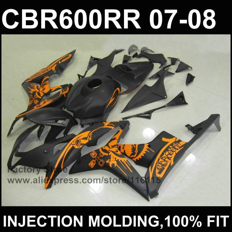 Noir orange carénage kits Injection moule carénage pour HONDA F5 CBR 600 RR 2007 2008 cbr600rr 07 08 ABS carénage en plastique partie