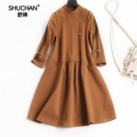 SHUCHAN Autumn Women Casual Dress 2017 New Arrival Women Fall Fashion Dress European Style Ladies Fashion