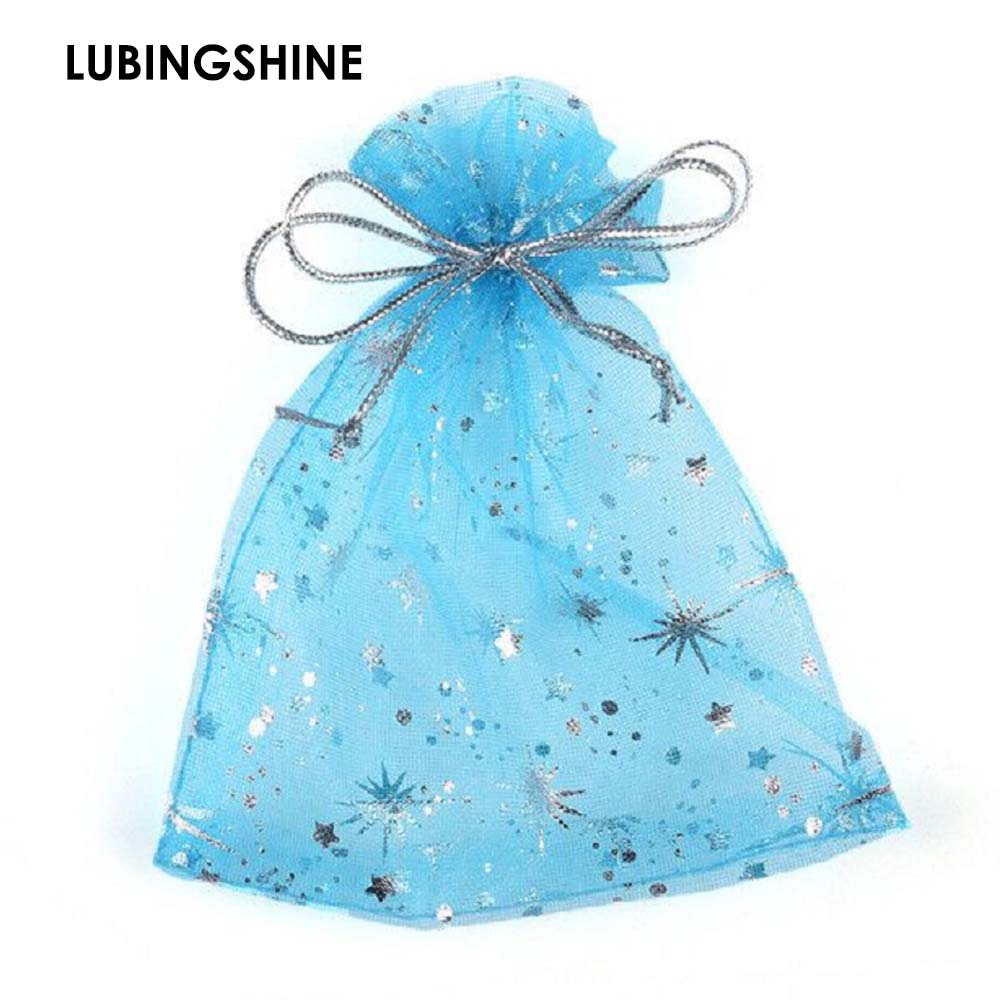 50Pcs/Bag High Quality Fashion Star Organza Bags 9x12cm Nice Jewelry Packaging Bags Wedding Christmas Gift Pouches Bag