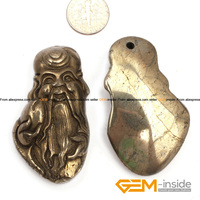 Pyrite Pendant 25x50mm Longevity God Carved Gray Pyrite Beads Natural Pyrite Stone Beads For Pendant Making