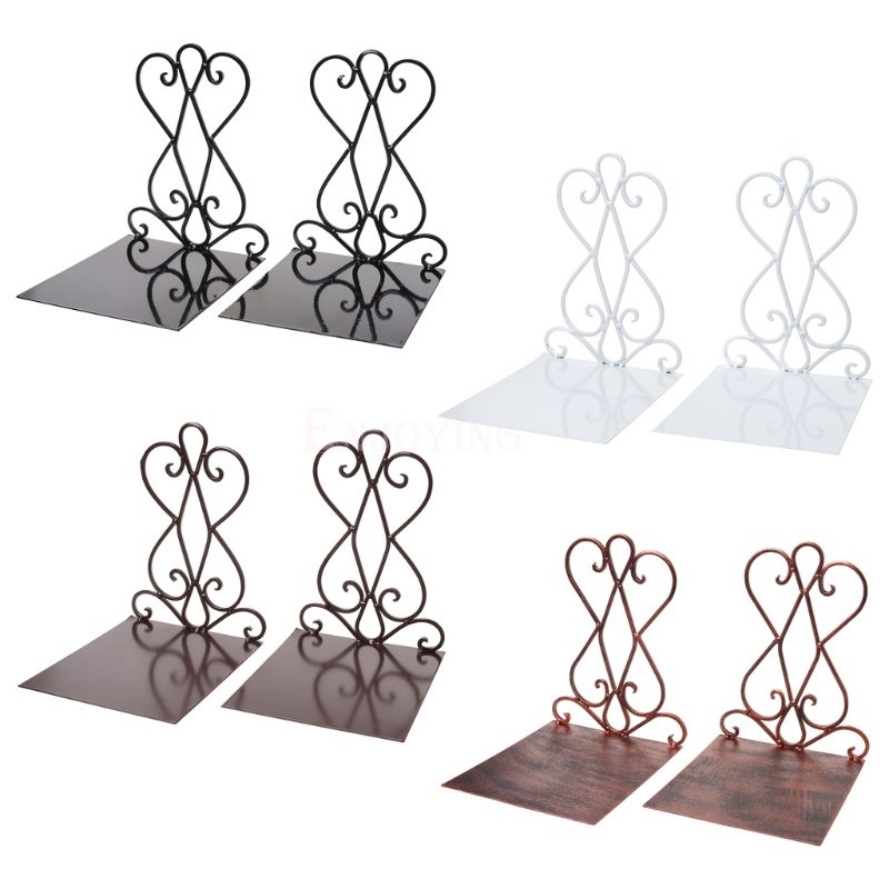 1 Pair Portable Metal Bookends Book Stand Holder Desktop Rack Shelf For Home Office Supplies