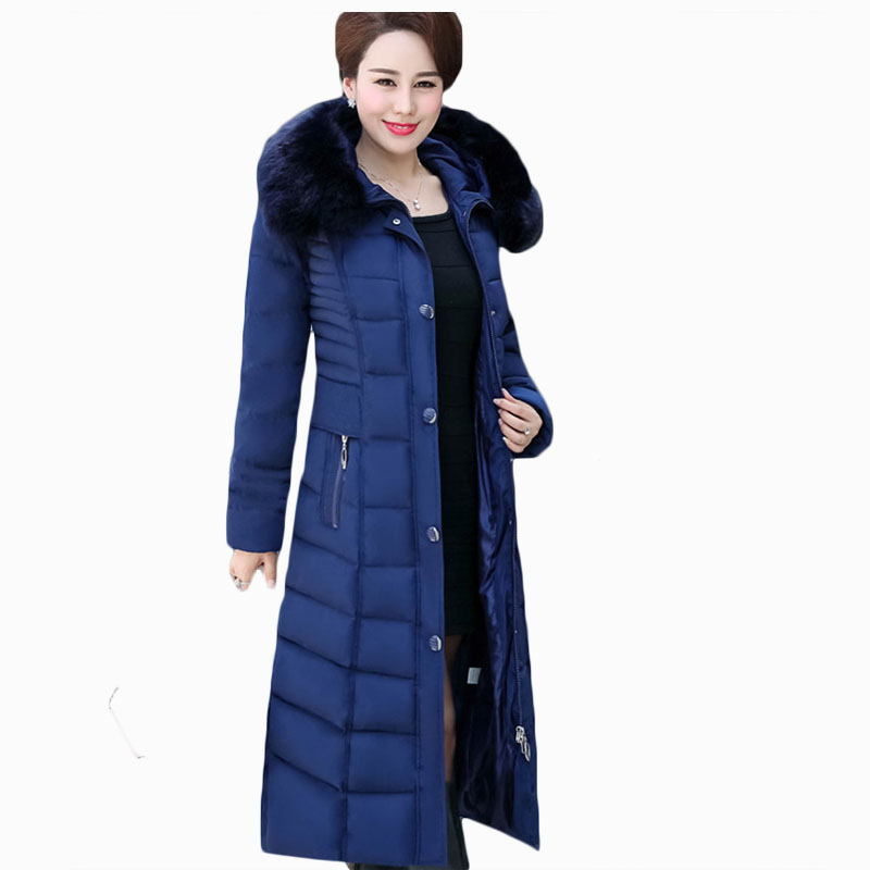 2017 NEW HOT WOMEN WINTER JACKER X-LENG THTHICKEN FUR COLLAR HOOD WARM SLIM FEMALE PARKAS BANDAGE COTTON WADDED COAT ZL679