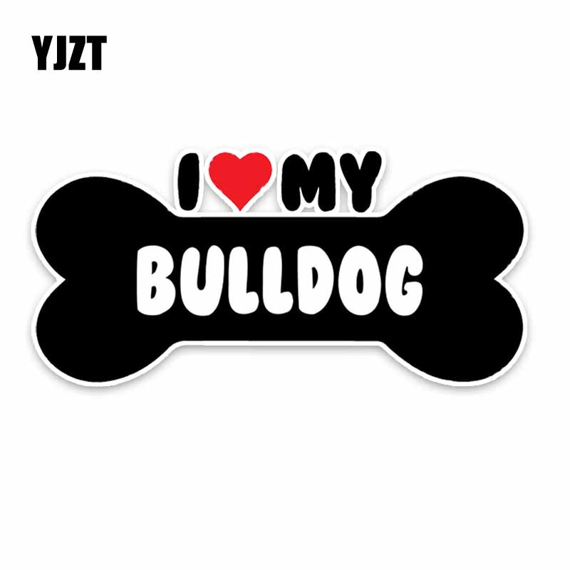 YJZT 15*7.1CM I Heart My Bulldog Dog Bone PVC Car Bumper Car Sticker Decals C1-4170