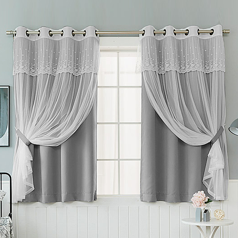 2 Layers Hollow The Stars Blackout Curtain for Bay Window Princess Lace Curtain for Girls Living