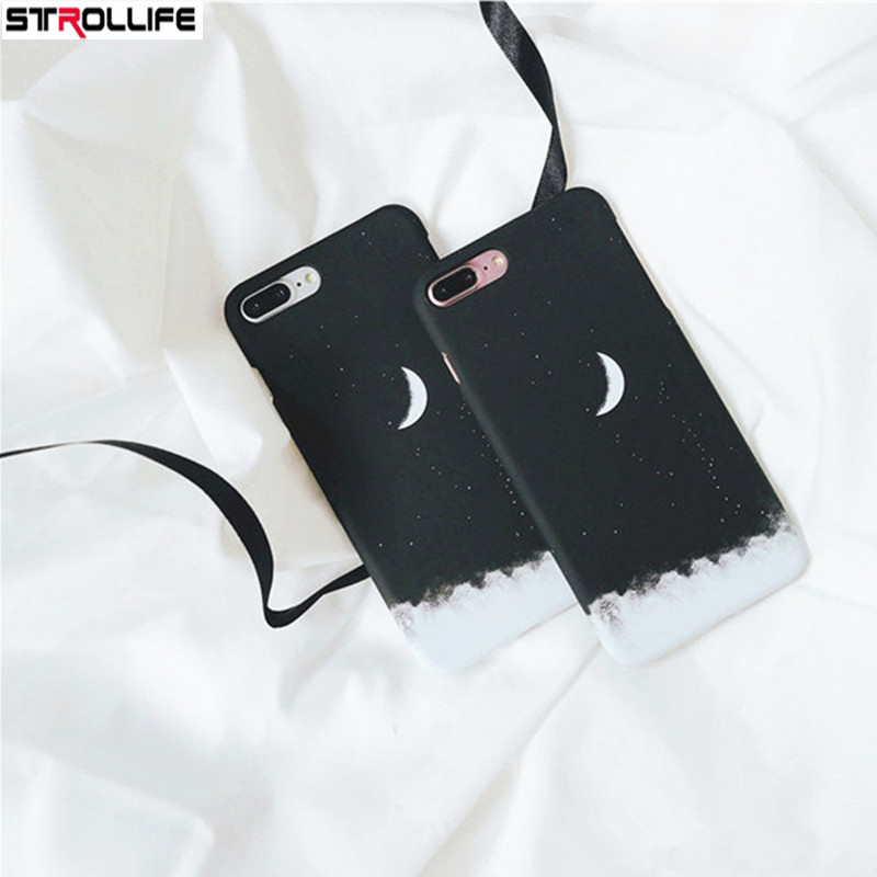 Amicable Strollife Fashion Gradient Starry Sky Black Phone Cases For Iphone 6plus Case Cartoon Moon Hard Pc Back Cover For Iphone 6splus Phone Bags & Cases