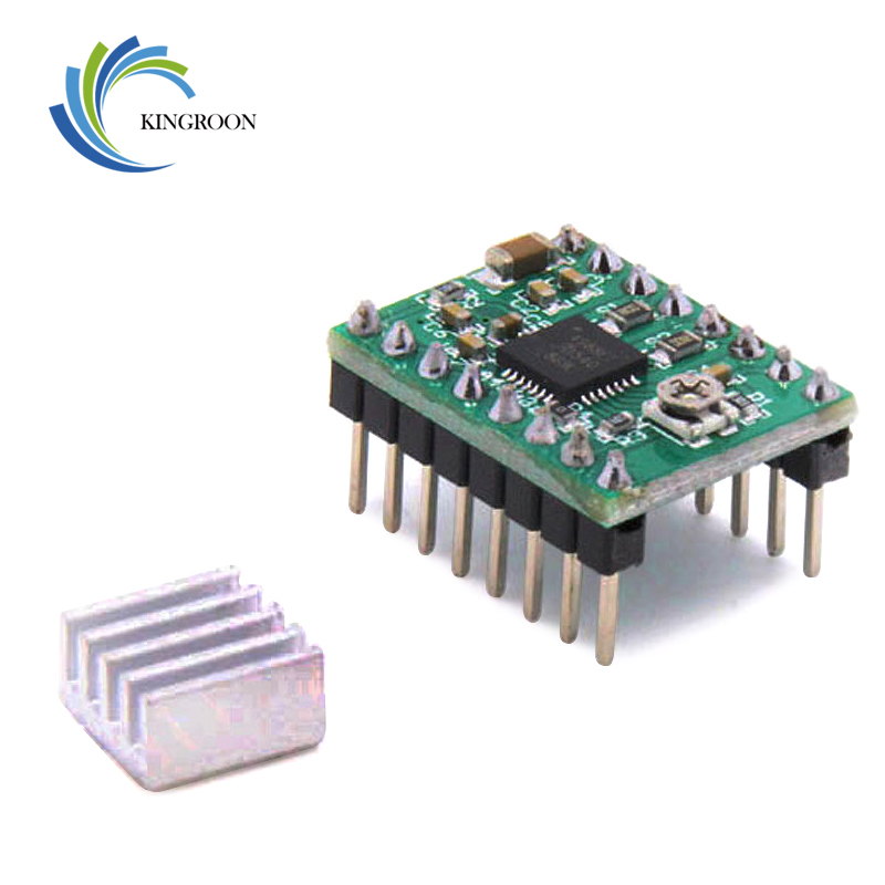 цена на 5pcs/lot Stepper Driver A4988 stepper motor driver + heat sink with sticker free shipping drop shipping