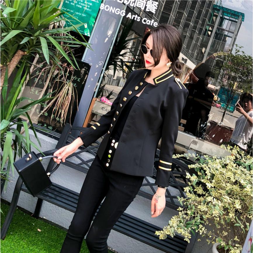 2018 herbst mode neue frauen jacke mantel Dünne kurze militär uniform tunika outwear weibliche metall einreiher jacke l1202