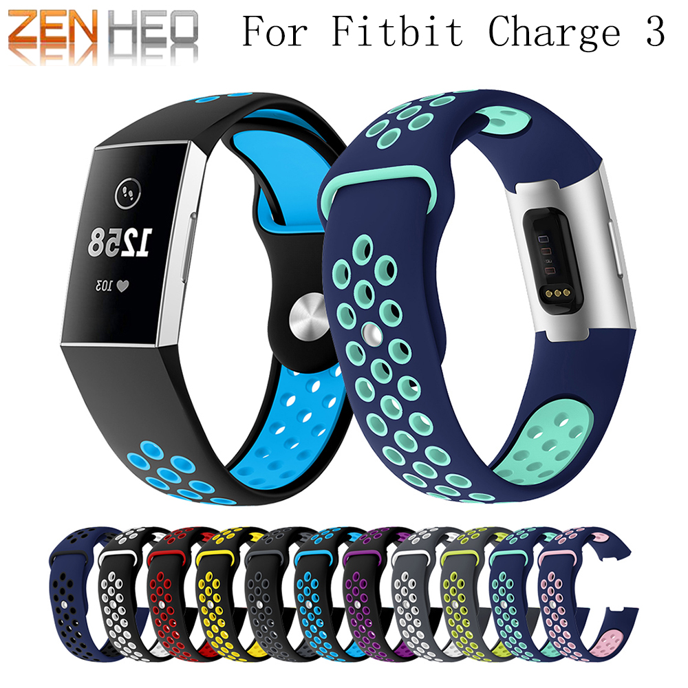 Sport silicone strap For Fitbit Charge 3 Bracelet Soft Wrist belt watch strap For Fitbit Charge 3 Band Replacement Accessories fitbit watch
