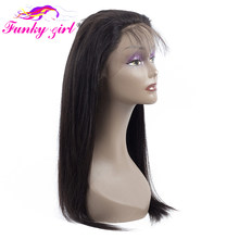Funky Girl Pre Plucked 360 Lace Frontal Closure with Baby Hair Peruvian Straight Hair Natural Color Remy Human Hair Free Part(China)