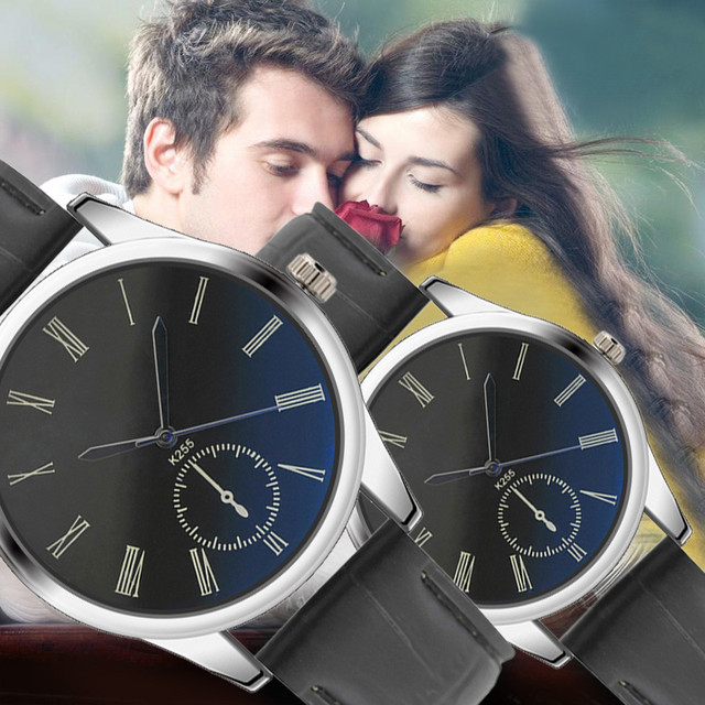 Fashion Women Mens Watch Analog Casual Black Leather Strap Couple Watches 10.3
