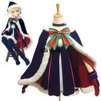 Kader Grand Sipariş Siyah Saber Noel Elbise Üniforma Pelerin Kıyafet Anime Cosplay Kostümleri