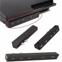 Preto 5 portas usb 2.0 hub 5 em 1 conversor usb para playstation ps3 & sony ps3 magro consoles adaptador de alta velocidade 2 a 5 5x hub usb