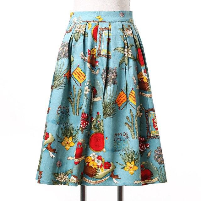1668bd1708c Plus Size Women Skirts Summer Style Knee Length Vintage Skirts Print Cotton  Retro Pattern Short Skirt Midi Pleated Skirt XS-3XL