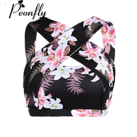 PEONFLY 2017 Women Flare Printed Fashion Fitness Tank Top Sleeveless Halter Backless Padded Crop Top Regata