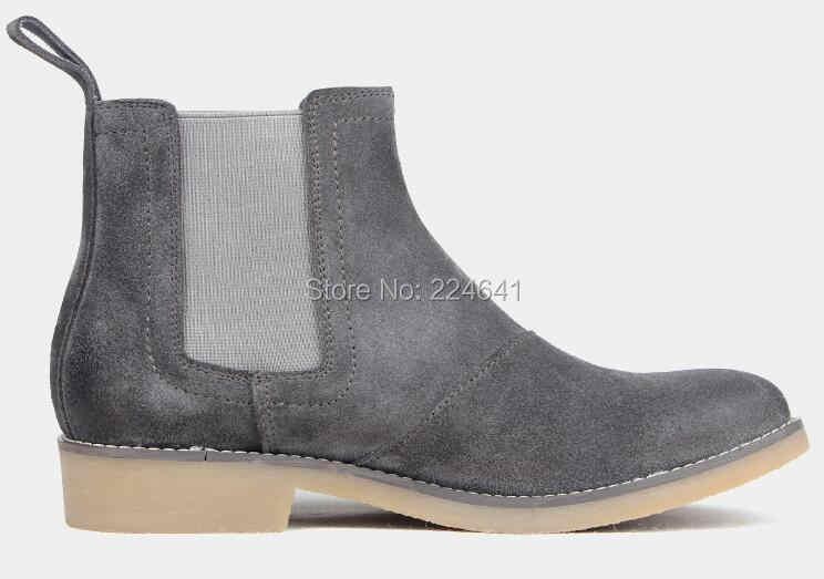 Euro 39-44 Khaki Grey merk designer europese stijl enkel mens chelsea laarzen casual mannen schoenen