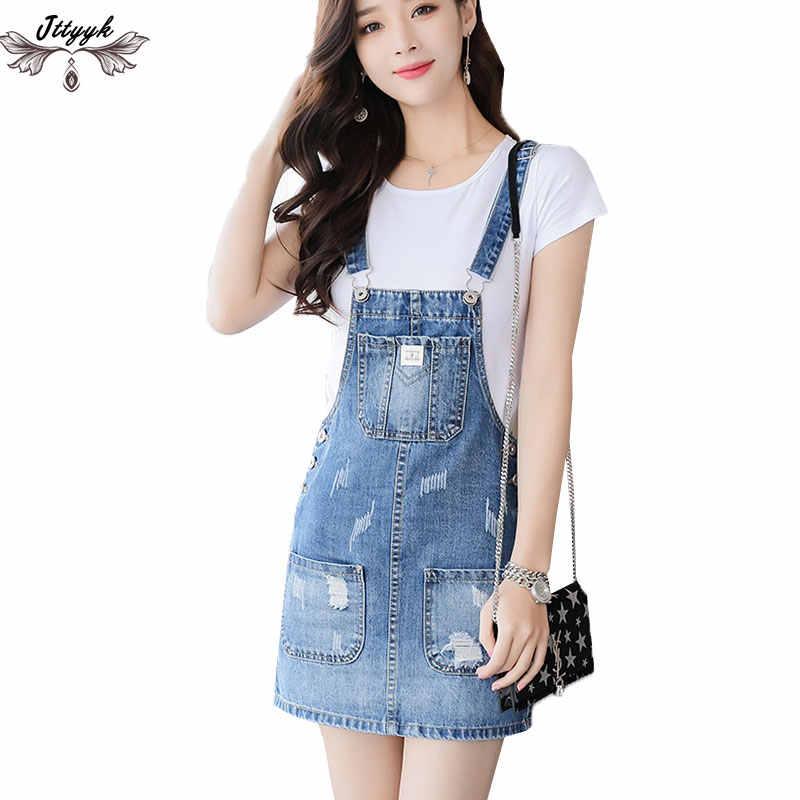 163c3e5ace0 2019 Large size Women Summer Dresses Sleeveless Summer Denim Dress  Spaghetti straps Dress Jeans Fashion Mini