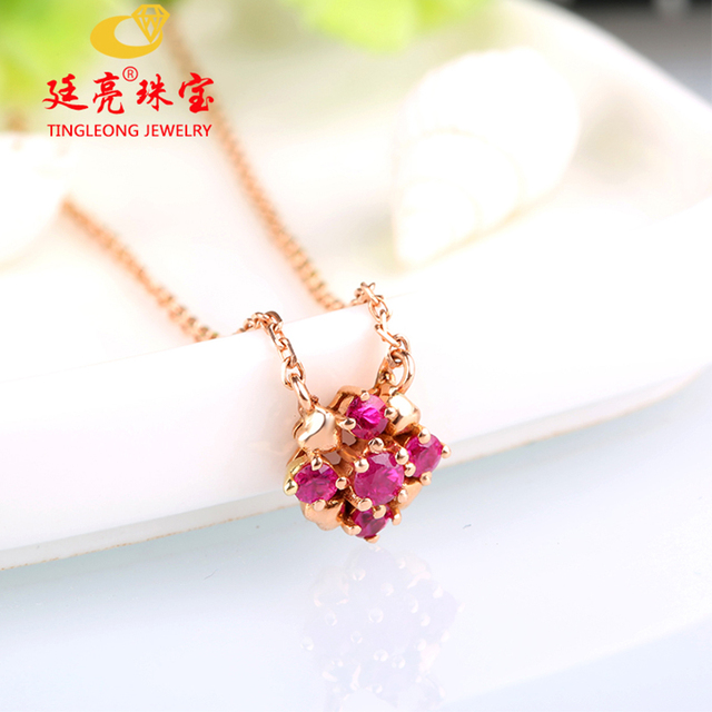 US $153 9  Robira OL Design Starry Natural Burma Ruby Necklace 14K Rose  Gold Hand Bouquet Pendant Necklace Fine Jewelry For Party Gift-in Necklaces