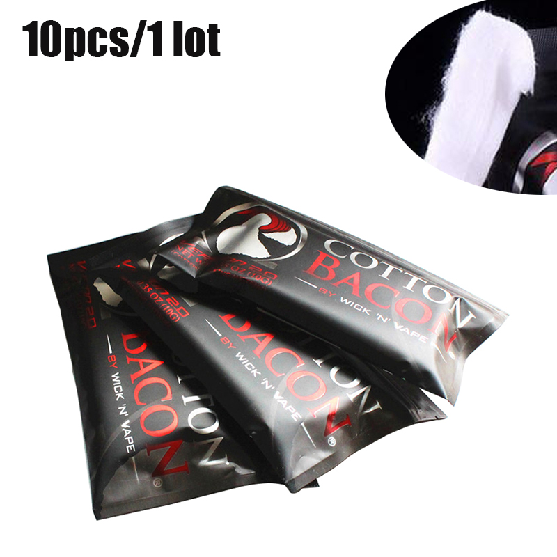 10pack 2.0 Cotton Bacon Vape Cotton Gold Version Bacon For RDA RTA RBA DIY Tank Heating Coil Wire Atomizer Vape Accessories