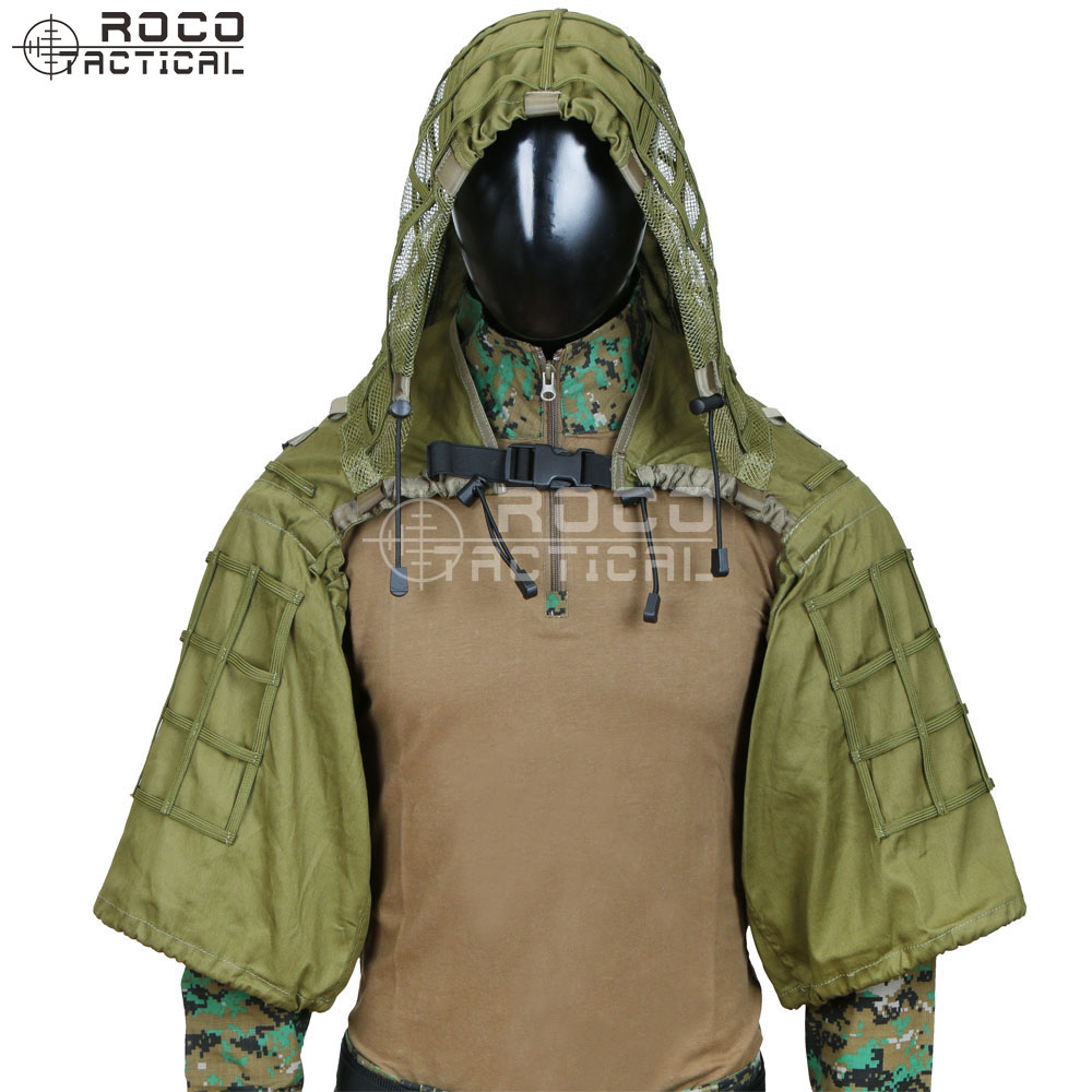 ROCOTACTICAL Militaire Sniper Ghillie Viper Capot Combat Ghillie Costume Fondation Personnalisé Ghillie Capot Veste Camouflage Woodland - 5