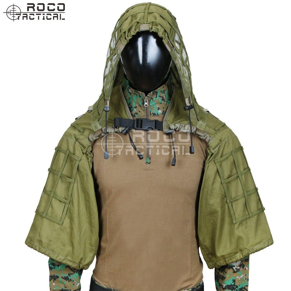Rocotactique militaire Sniper Ghillie Viper capuche Combat Ghillie costume fondation personnalisée Ghillie capuche veste Camouflage boisé - 5