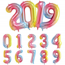16 32inch Number Aluminium ballons decoration birthday rainbow Silver rose Gold 0-9 Number Foil Wedding party decorations adult(China)