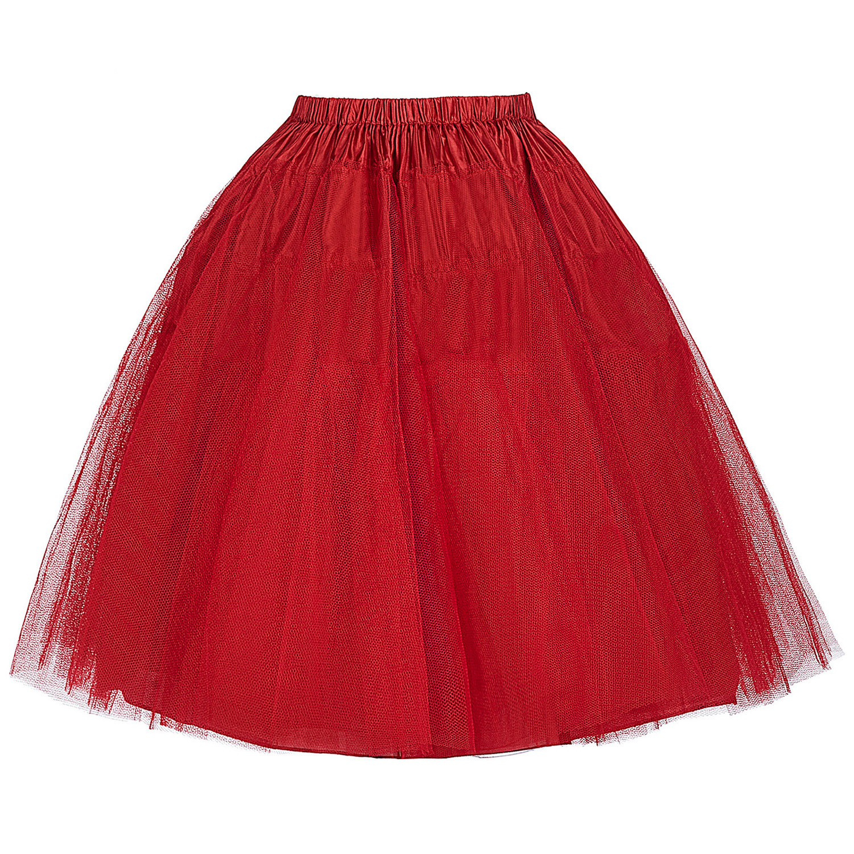 Women Tutu Skirts Crinoline Petticoat 50s Retro Vintage Wedding Petticoats Red White Black Ruffle Underskirt 2018