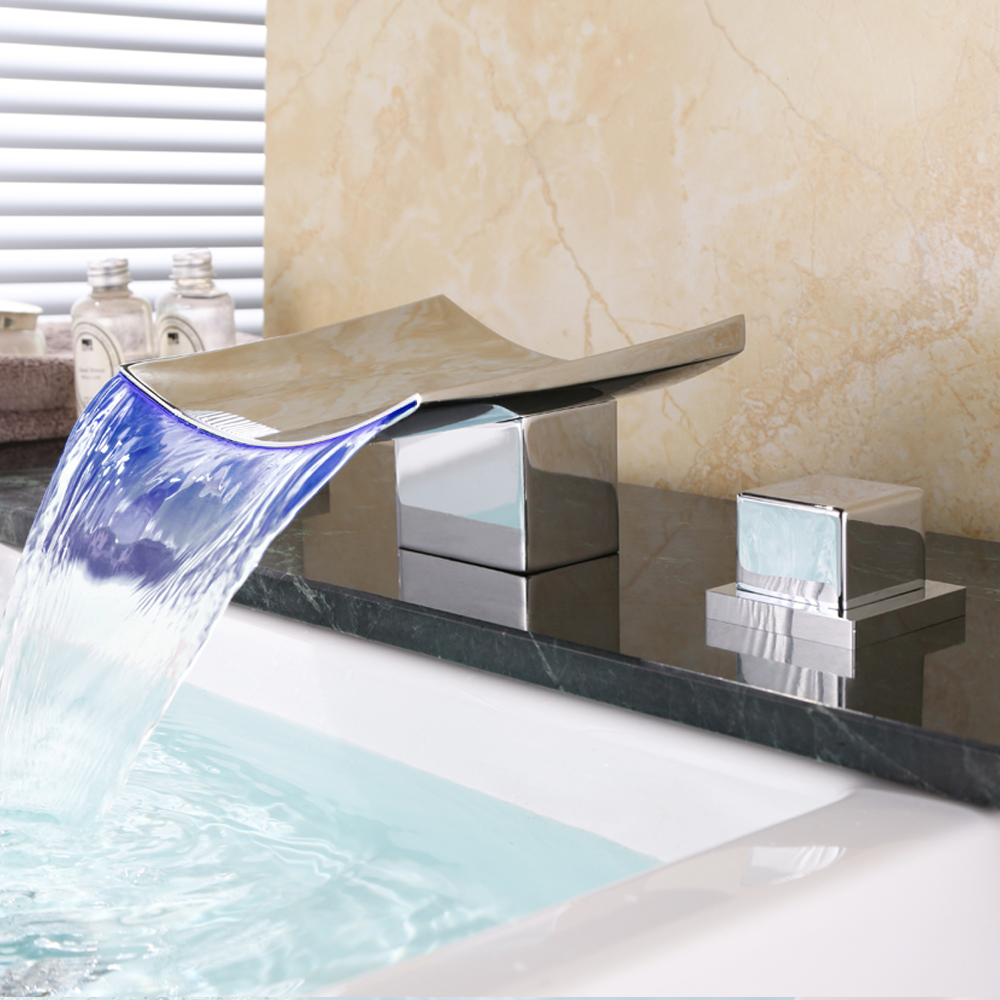 Bathroom Faucet Waterfall LED Waterfall Faucet Sink Faucet Waterfall Water Tap LED Temperature Controlled