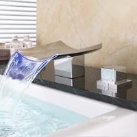 Bathroom Faucet Waterfall LED Waterfall Faucet Sink Faucet Waterfall Water Tap LED Temperature Controlled