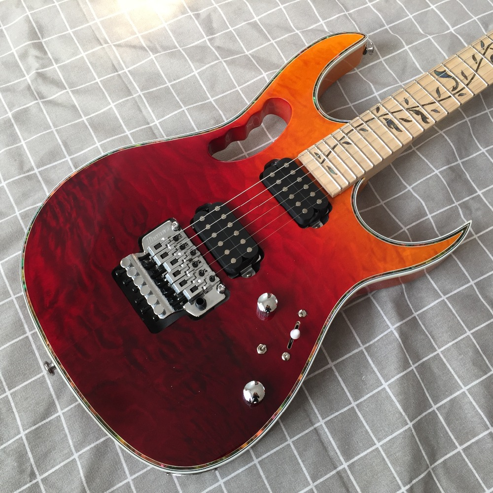 High quality of red and yellow 6 string electric guitar double wave electric guitar custom shop