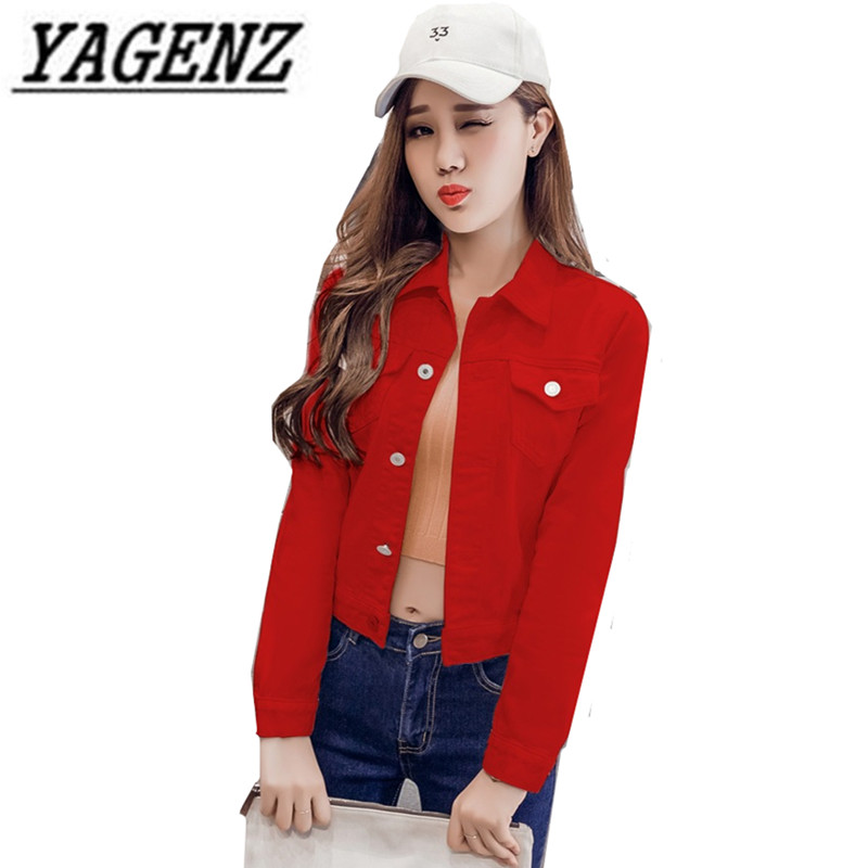 2018 Spring Autumn Women Denim   Basic     Jackets   Single-breasted Slim Long-sleeved Jeans   Jacket   Student Outerwear Casual Denim Tops