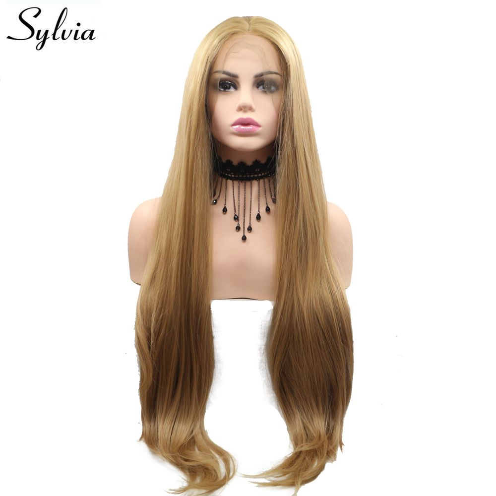 Sylvia Long Silky Straight Hair Golden Blonde Synthetic Lace Front Wig Middle Part Heat Resistant Fiber Women Wig Half Hand Tied
