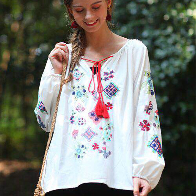 d19e40c5132 Autumn Flroal Embroidery Vintage Blouse Women Tassel White Cotton Linen  Shirt Boho Lantern Sleeve Womens Tops and Blouses Blusas