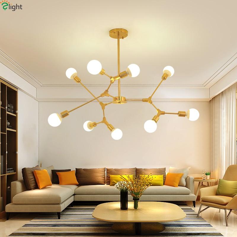 Living Room Light Fixtures: Modern DIY Led Chandeliers Lighting Gold/Black Metal