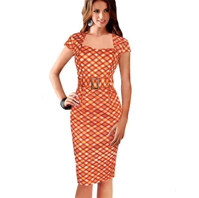 Orange Plaid Vestito Delle Vestidos Abiti Tunica Di Fiocchi Del Da Donne Festa Lavoro Diamante Matita Ufficio Reticolo E Ol Sexy Vogue Fasce Elegante Dell'annata q7Pz6qg