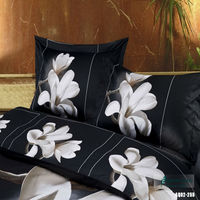 100 Cotton Bedding Set 3D White Orchid Bed Set 800TC Double Queen King Size 3pcs