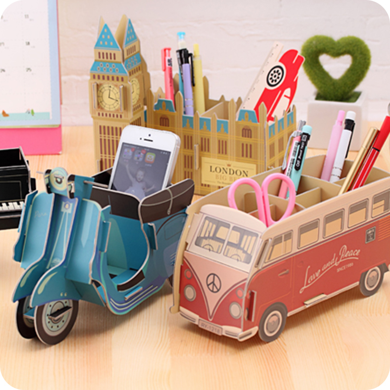 Creative DIY Car Bus Modeling Pen Holders Small Adorn Article Receive Box Desktop Stationery