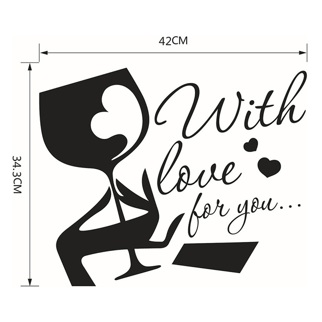 With Love For You Wine Glass Wall Stickers Removable DIY Vinyl Wall Sticker  Art Quotes Decal