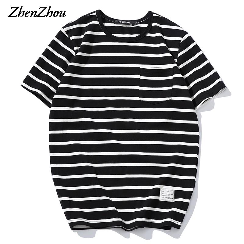 Striped Mens T Shirts 2017 Fashion Solid T Shirt Men Short