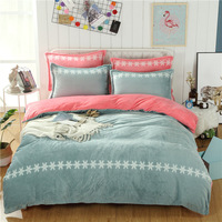 2018 Solid and simple bedding set Flannel and Coral fleece bed linen duvet cover sets
