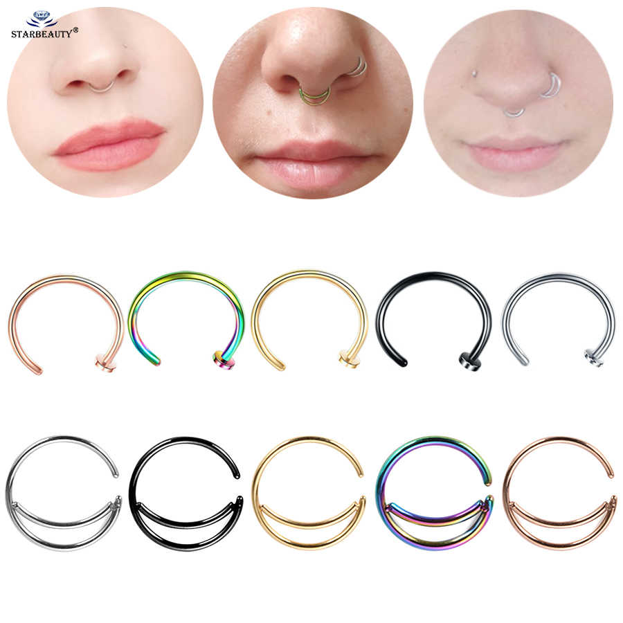 2pcs 8/10mm Rose Gold Color Moon Septum Hoop Fake Nose Ring Helix Piercing Fake Piercing Ear Piercing Tragus Earrings Jewelry