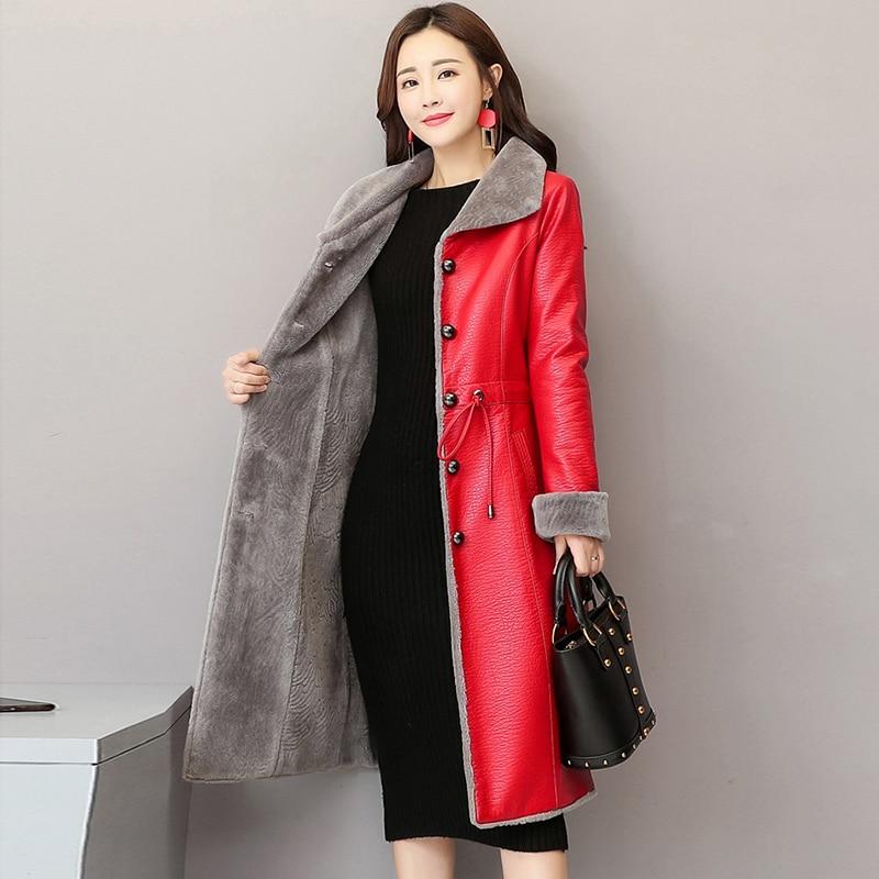2018 Winter New Long Leather Jackets Lamb Fur Plus Size Velvet Thick Coats Women Warm Leather Outerwear Fashion Elegant Parkas