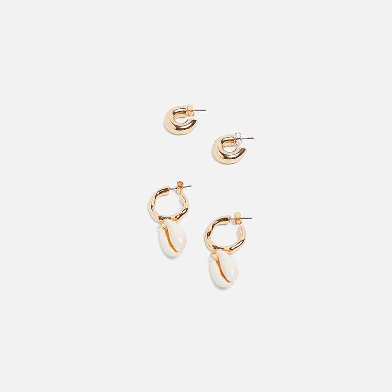 2 Pair/Set 2019 Summer New ZA Women Shell Drop Earrings Gold Alloy Statement Jewelry Girl Sea Beach Party Wedding Bijoux