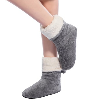 FRALOSHA Wholesale Women Plush Home shoe Coral Fleece Indoor Floor Sock Winter Foot Warmer Soft bottom slippers 1