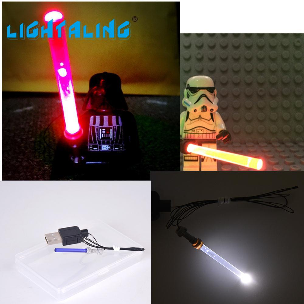Lightaling LED-lampa Lightsaber för Star Wars-figurer Darth Vader Kompatibel med Berömda Märkesblock Modeller Leksaker
