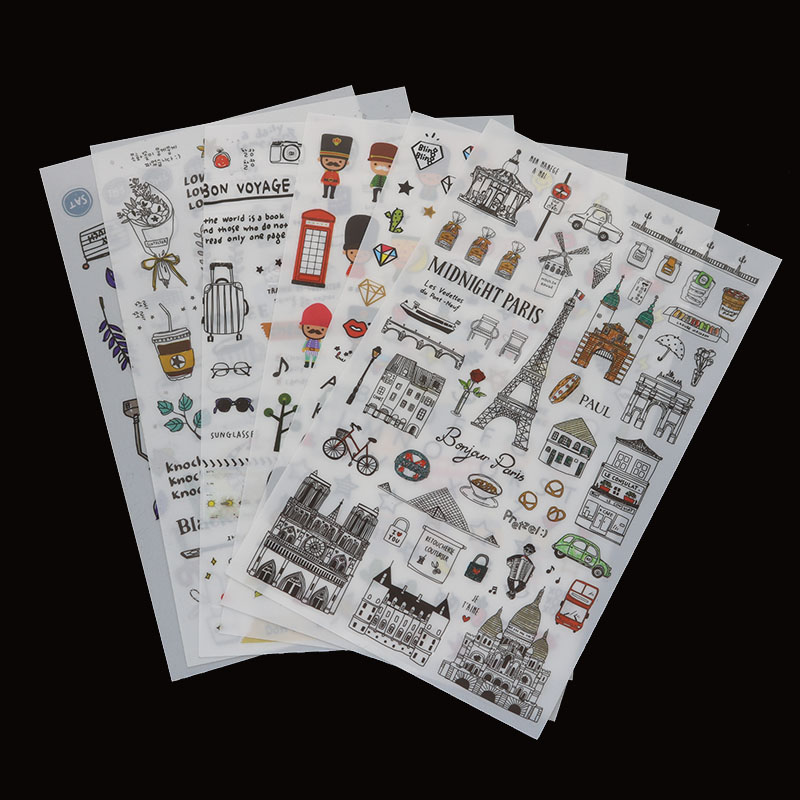 6pc/package New Paris Landscape Transparent Sticker Student Diary Label Cartoon Diy Decoration Scrapbook Decoration Reward Posts