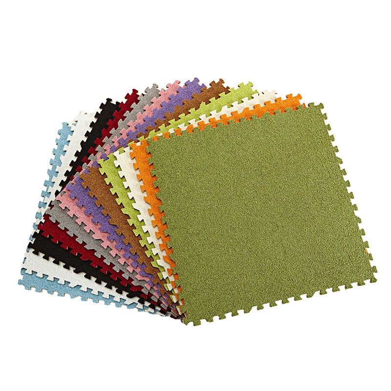 Baby EVA Foam Play Puzzle Mat 9 or 18lot Interlocking Exercise Tiles Floor Suede Carpet Rug for Kid 30*30*0.8cm without Edge
