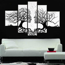 hand-painted wall art black white kissing lover couple painting picture decoration abstract Landscape oil on canvas